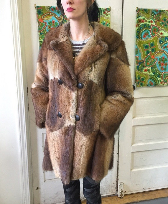 1960s Womens' chevron brown fur coat size M