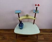 Vintage flower table, bench, side table, flower stand, multicolored, candy colors | Germany Mid Century Modern