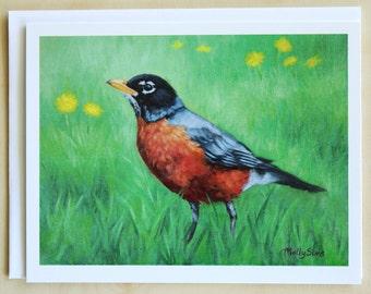 American Robin - robin - bird notecard - bird art - greeting cards - paper goods - thank you notes