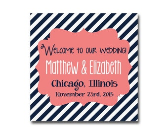 Instant Download - Welcome Bag Tag, Wedding Welcome Bag, Wedding Welcome Box, Welcome Bag Note, Welcome Bag Sticker, Coral, CNWD