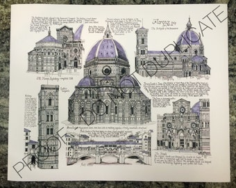 Florence, Italy Ink Drawing Print