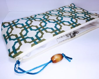 Lattice Print Zipper Waterproof Bag, Makeup Bag, For Reusable Feminine Pads, Cosmetic Pouch, Lunch Bag, Pencil Case, Diaper Bag, Project Bag