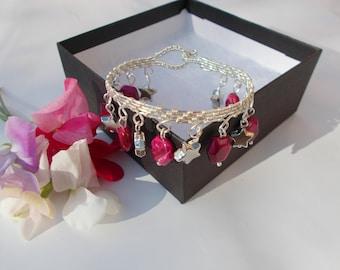 Fushia tiger's eye bracelet , wire bracelet , wire wrapped bracelet , wire jewelry , silver jewelry , pink bracelet , wire wrapped jewelry