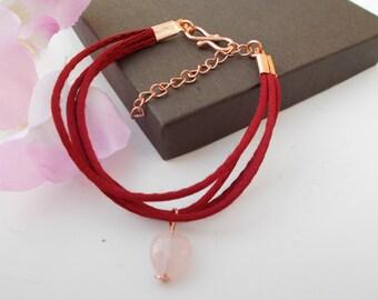 Cord bracelet , multi strand bracelet , rose quartz bracelet , rose gold plated bracelet , gemstone jewerly , red bracelet , rose quartz