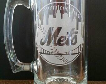 New York Mets Sand Carved Glass Mug