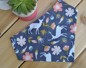 Reversible Dog Bandana, Pet Bandana, Cat, Navy Blue, Floral, Deer, Female