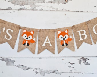 Nice Woodland Baby Shower Decorations, Woodland Baby Shower Banner, Fox Itu0027s A  Boy Banner,
