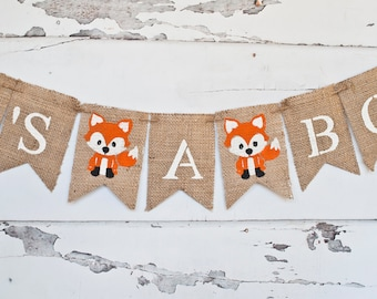 Woodland Baby Shower Decorations, Woodland Baby Shower Banner, Fox It's A Boy Banner, Fox Banner, Woodland Gender Reveal Banner, B266