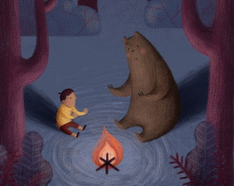 The Boy And The Bear Illustration // Art Prints