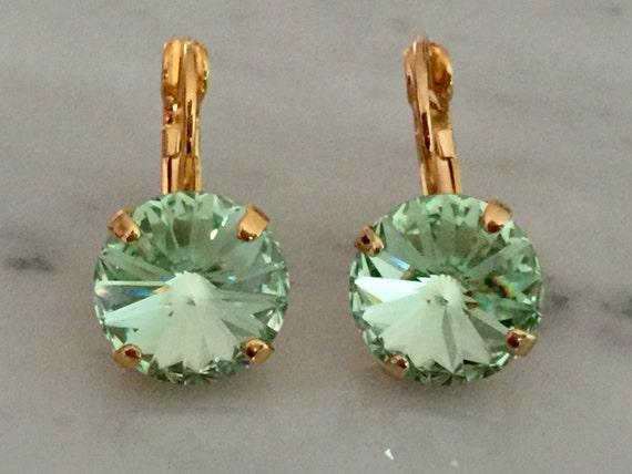Swarovski Chrysolite Earrings, Chrysolite Crystal Earrings, Chrysolite Crystal Gold Earrings, Swarovski Green Earrings