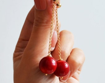 "Long earrings with a red coral ""Ripe Cherry"""