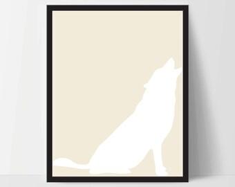 Animal Wolf Wall Art, Unframed, Artwork, Home Decor, Modern Contemporary, Print Art, Boho, Nursery, Baby, Yellow, 12x16 Inches