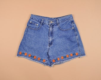 Size 7/8, Women's Denim Shorts, Vintage 90's High Waisted Embroidered Cut Off Jean Shorts, Floral, Flower Power, Cut Offs, Soft Grunge