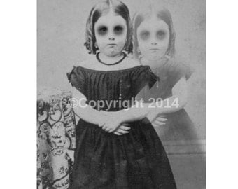 Ghost Girl Photo Victorian Vintage Altered Art Halloween CreepyCabniet Card Girl Children Instant Download Ephemera Scrapbook Card