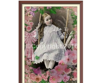 Instant Download Vintage Victorian Girl On Swing Altered Digital Art Collage Flower Victorian Child Ephemera   Printable Image Digital Photo
