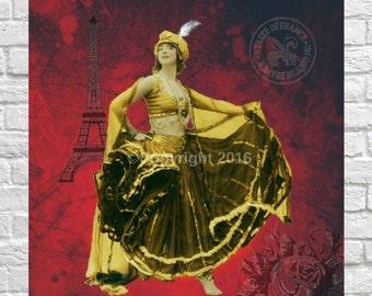 Dancer French Ephemera Vintage Original Belly Dancer Gypsy Printable Digital Collage  Altered Art Scrapbook Page Vintage Instant Download