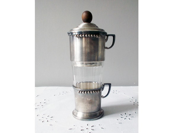 Coffee Maker Person Called : Antique French Coffee Press Individual Coffee Maker Silver