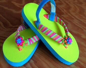 Neon Yellow & Teal Designed Girls Flip Flops
