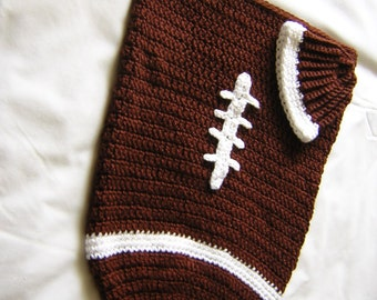 Football Cocoon with Matching Hat - Brown Crochet - Baby Cocoon Photo Prop - READY TO SHIP
