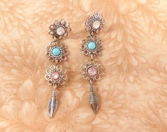 sterling 925 white blue pink dangle peirced earrings vintage jewerly