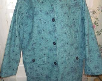 Denim & Co Lined Corduroy Jacket - Blazer Floral Print Teal and Navy Blue Size 1X