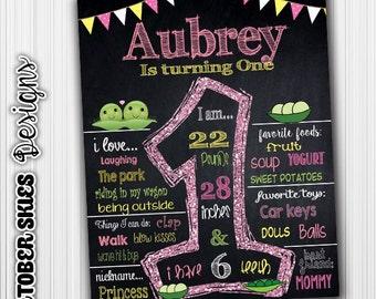 Sweet Pea Birthday Chalkboard, Birthday poster, Custom Digital File, any age