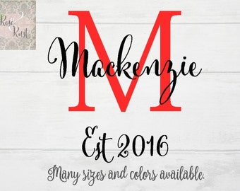 Contemporary Monogram Letter Decal, Last Name Decal, Established Date Decal, Family Name Wall Decal, Wedding Date Decal, Anniversary Decal