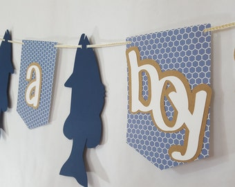 Gone Fishing Its a Boy Blue Baby Shower Party Banner