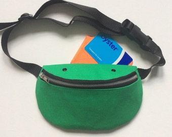 Green Bumbag, Fanny pack, Hip bag, Cotton canvas, Handmade