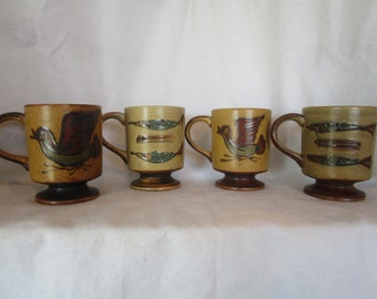 Rustic mugs, set of four coffee mugs, stoneware mugs, coffee cups with birds, cabin mugs, coffee cups with fish, tall coffee cups