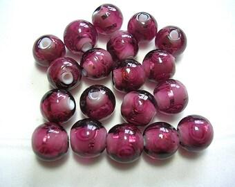 10mm Purple Lampwork Beads Light Roses Purple Swirled Amethyst Puprle 25 Beads