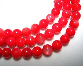 Coral Mother of Pearl Rounds 6mm Coral Shell Beads 15 inch strand 55 Beads Shimmery 6mm Mother of Pearl Rounds Coral PInk  Beads