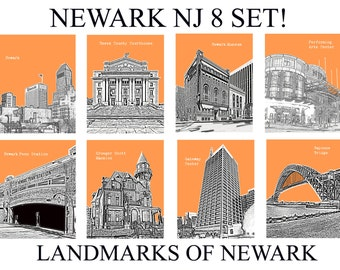 8 Set Newark NJ City Skyline art prints wall decor for home or office. Great Deal *Buy 5 get 3 city prints FREE! Pick out your colors