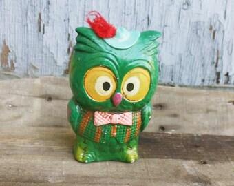 Vintage Chalkware Owl Coin Bank - Piggy Bank