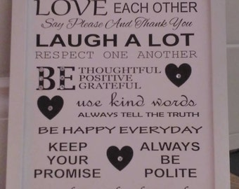 Family rules frame, beautiful keepsake, mothers day gift