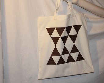 Brown Triangles Cotton Tote Bag