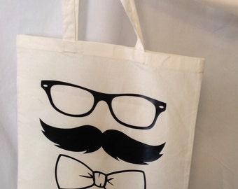 Moustache Cotton Tote Bag