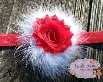 Red baby headband, white baby headband, Valentines headband, baby Valentines headband, Valentine headband, red headband, first Valentine