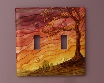Rustic Sunset - Choose Your Size Switch Plate, Tree Painted with Alcohol Ink