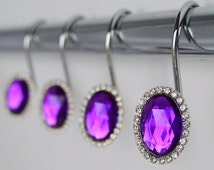 SALE Shower Curtain Hooks Rings - Oval Purple Cute Decorative Crystal Gems and Bling Rhinestones Bathroom Bath Set Home Decor Girls Women Gi