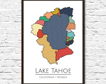 Lake Tahoe, Lake Tahoe Print, Lake House Decor, Lake Tahoe Art, Lake Tahoe Poster, Office Decor, Home Decor, Map Art