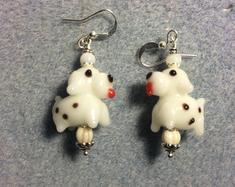 White spotted puppy dog lampwork bead dangle earrings adorned with white Czech glass beads.