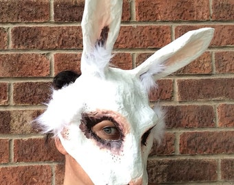 White Rabbit Mask/ Paper mache animal mask