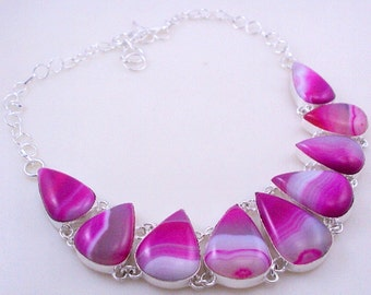 92 Gr. Botswana Agate Stone .925 Silver Handmade Jewelry Necklace (Jh-84)