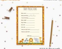 ON SALE Jungle Safari Baby Predictions , Safari Baby Shower Games , Wild Animals Baby Predictions Card , Safari Printable , Instant Download