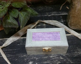 Rune Box, Hand Painted Wooden Rune Box, Jewelry Box, Storage or Display Container, Black Purple and Gray Box, Crystal Keepsake, Witch Box