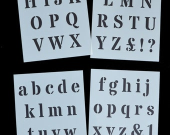 Alphabet Letters Stencil ROMAN Style on 4xA4 (8' x 11.5') Sheets 40mm CAP HEIGHT Stencil for walls, Signs, Painting Projects.  Alpha 1