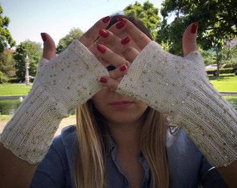 Pretty Gloves, Fingerless Gloves, Sequin Gloves, Boho, Mittens, Women Gloves, Knit Fingerless gloves, Arm warmers, Winter gloves, Winter