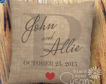 """Custom Wedding or Anniversary Print Pillow Cover of Natural Canvas or Lined Burlap 