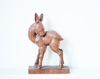 Vintage hand carved wooden deer